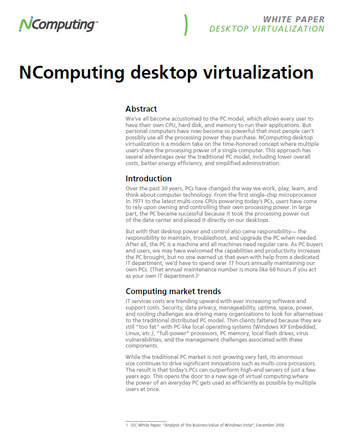 Desktop Virtualization Whitepaper